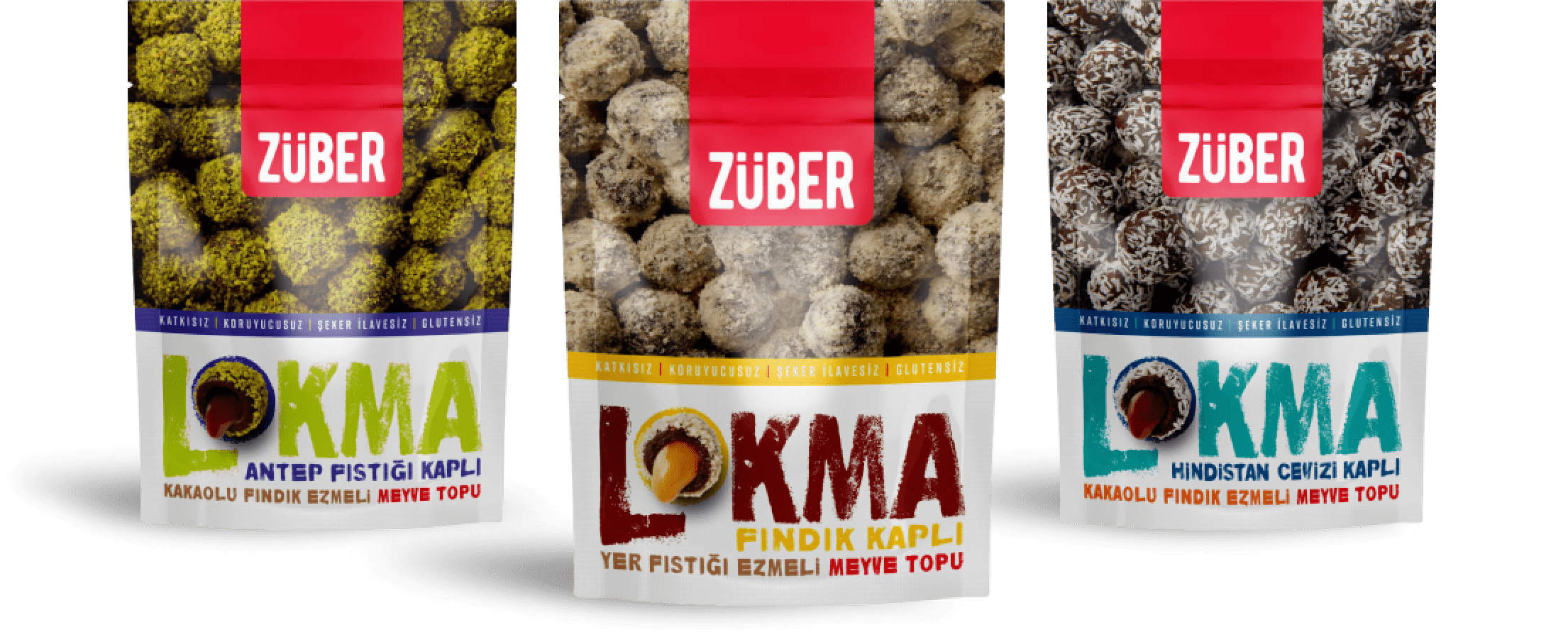 Züber Lokma |İçi Akışkan %100 Doğal Fındık, Fıstık Ezmeli Meyve Topu